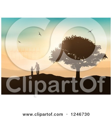 Clipart of a Silhouetted Father and Son by a Tree, Viewing a Wind Farm at Sunset - Royalty Free Vector Illustration by KJ Pargeter