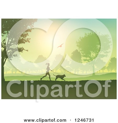 Clipart of a Silhouetted Fit Woman Jogging with Her Dog Through a Park - Royalty Free Vector Illustration by KJ Pargeter