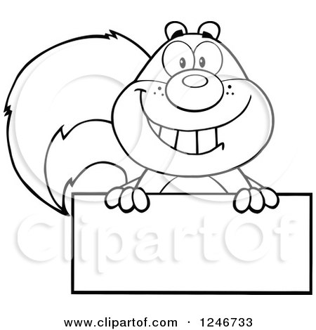 Clipart of a Black and White Happy Squirrel Grinning over a Blank Sign - Royalty Free Vector Illustration by Hit Toon