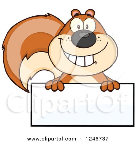 Clipart of a Happy Squirrel Grinning over a Blank Sign - Royalty Free Vector Illustration by Hit Toon