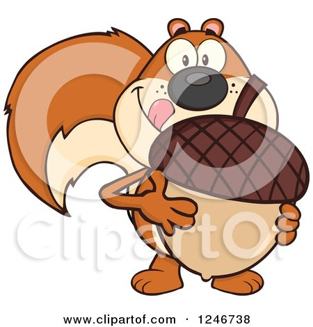 Clipart of a Hungry Squirrel Licking His Lips and Holding a Giant Acorn - Royalty Free Vector Illustration by Hit Toon