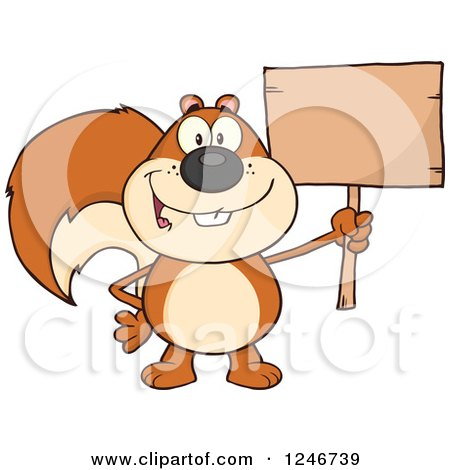 Clipart of a Happy Squirrel Holding a Blank Wooden Sign - Royalty Free Vector Illustration by Hit Toon