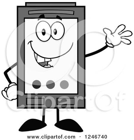 Clipart of a Friendly Waving Grayscale Ink Cartridge Character Mascot - Royalty Free Vector Illustration by Hit Toon