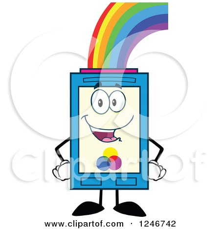 Clipart of a Rainbow Refilling a Color Ink Cartridge Character Mascot - Royalty Free Vector Illustration by Hit Toon