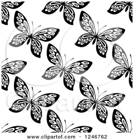 Clipart of a Seamless Black and White Butterfly Background Pattern 6 - Royalty Free Vector Illustration by Vector Tradition SM