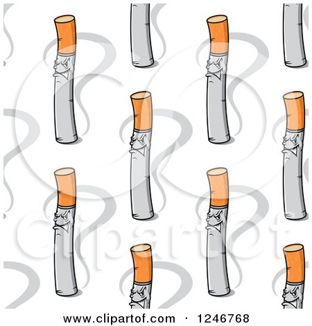 Clipart of a Seamless Cigarette Background Pattern - Royalty Free Vector Illustration by Vector Tradition SM