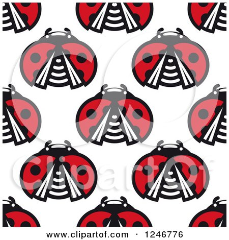 Clipart of a Seamless Pattern Background of Ladybugs 2 - Royalty Free Vector Illustration by Vector Tradition SM