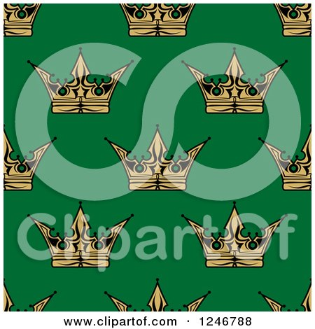 Clipart of a Seamless Background Pattern of Gold Crowns on Green - Royalty Free Vector Illustration by Vector Tradition SM