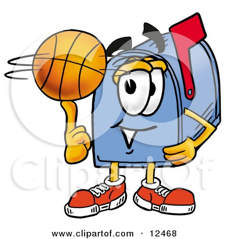 Clipart Picture of a Blue Postal Mailbox Cartoon Character Spinning a Basketball on His Finger by Toons4Biz