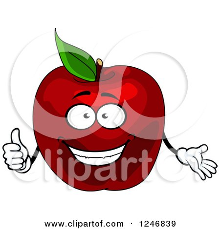 Clipart of a Red Apple Character - Royalty Free Vector Illustration by Vector Tradition SM