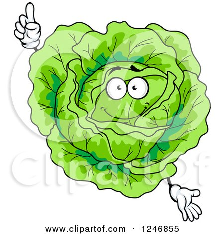 Clipart of a Cabbage Character - Royalty Free Vector Illustration by Vector Tradition SM