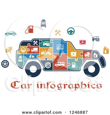 Clipart of a Puzzle Piece SUV Infographics Diagram with Icons and Text - Royalty Free Vector Illustration by Vector Tradition SM