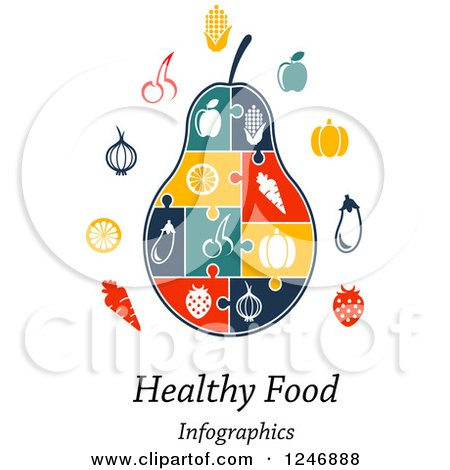 Clipart of a Puzzle Piece Pear Infographics Diagram with Icons and Healthy Food Infographics Text - Royalty Free Vector Illustration by Vector Tradition SM