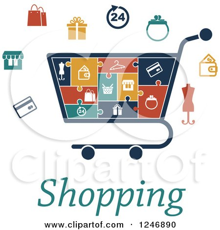 Clipart of a Puzzle Piece Shopping Cart Infographics Diagram with Icons and Text - Royalty Free Vector Illustration by Vector Tradition SM