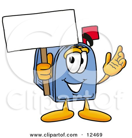 Blue Postal Mailbox Cartoon Character Holding a Blank Sign Posters, Art Prints