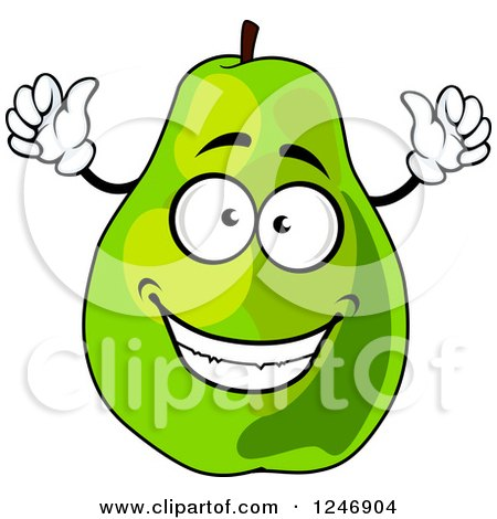 Clipart of a Green Pear Character - Royalty Free Vector Illustration by Vector Tradition SM