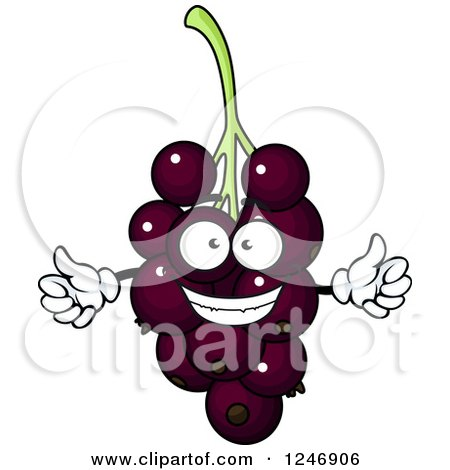 Clipart of a Purple Grapes or Currant Character - Royalty Free Vector Illustration by Vector Tradition SM
