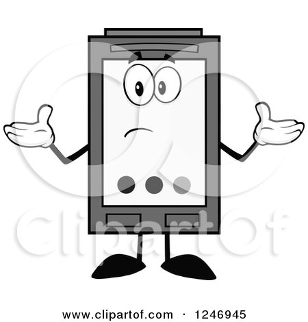 Clipart of a Confused Grayscale Ink Cartridge Character Mascot Shrugging - Royalty Free Vector Illustration by Hit Toon