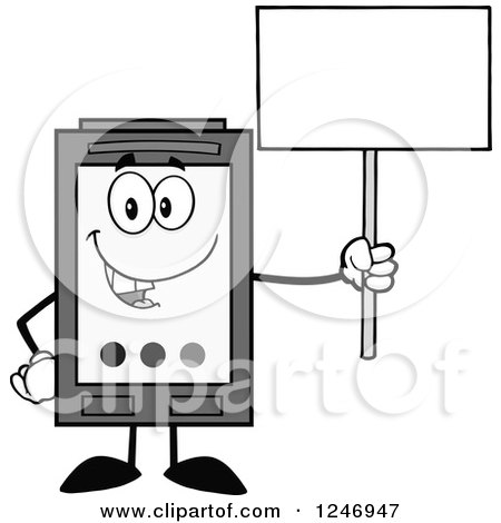Clipart of a Grayscale Ink Cartridge Character Mascot Holding up a Blank Sign - Royalty Free Vector Illustration by Hit Toon