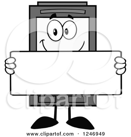 Clipart of a Grayscale Ink Cartridge Character Mascot Holding a Blank Sign - Royalty Free Vector Illustration by Hit Toon