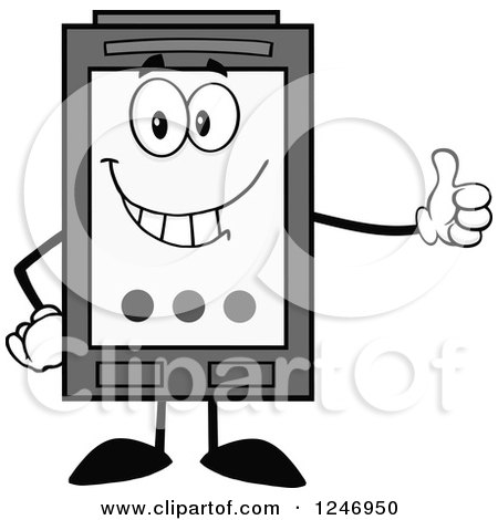 Grayscale Ink Cartridge Character Mascot Holding a Thumb up Posters, Art Prints