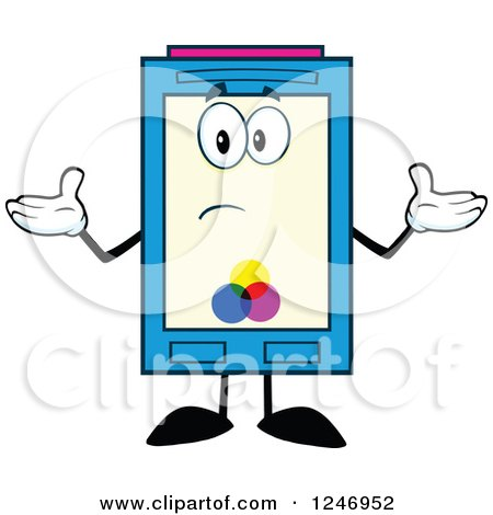 Confused Color Ink Cartridge Character Mascot Shrugging Posters, Art Prints