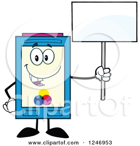 Clipart of a Color Ink Cartridge Character Mascot Holding up a Blank Sign - Royalty Free Vector Illustration by Hit Toon