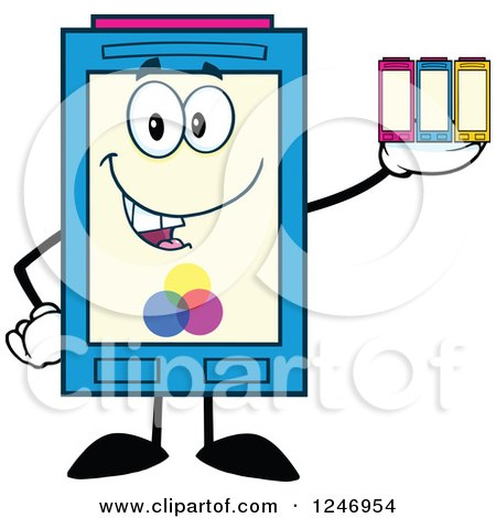 Color Ink Cartridge Character Mascot Holding Toner Posters, Art Prints