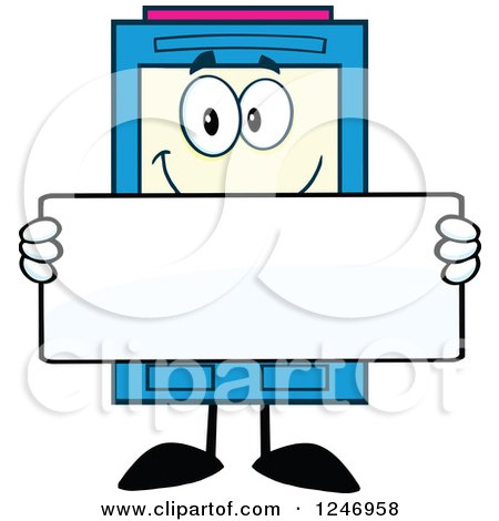 Color Ink Cartridge Character Mascot Holding a Blank Sign Posters, Art Prints