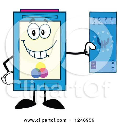 Color Ink Cartridge Character Mascot Holding a Euro Bill Posters, Art Prints