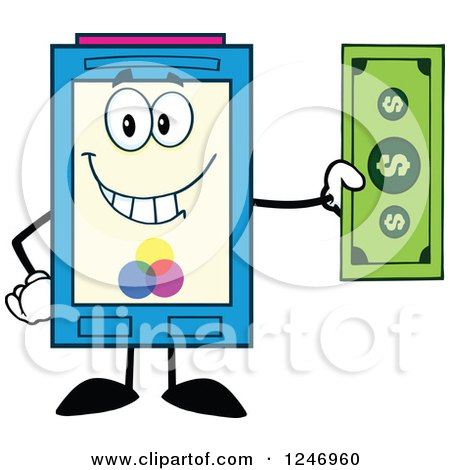 Clipart of a Color Ink Cartridge Character Mascot Holding a Dollar Bill - Royalty Free Vector Illustration by Hit Toon