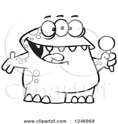 Clipart of a Black and White Happy Monster Singing Karaoke or Hosting - Royalty Free Vector Illustration by toonaday