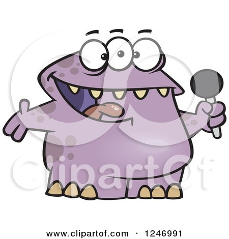 Clipart of a Happy Purple Monster Singing Karaoke or Hosting - Royalty Free Vector Illustration by toonaday