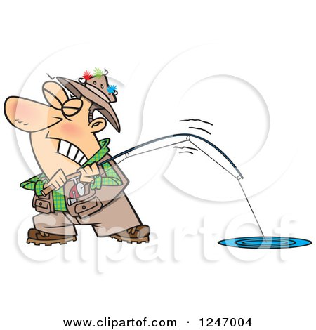 Clipart of a Cartoon Caucasian Man Trying to Pull in a Tough Fish - Royalty Free Vector Illustration by toonaday