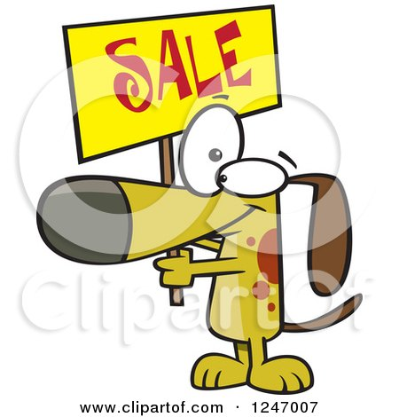 Clipart of a Cartoon Dog Holding up a Sale Sign - Royalty Free Vector Illustration by toonaday