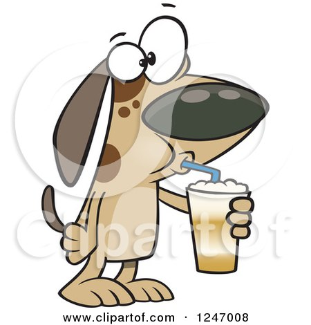 Clipart of a Cartoon Dog Drinking a Latte - Royalty Free Vector Illustration by toonaday