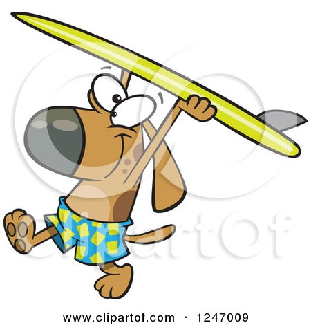 Clipart of a Cartoon Surfer Dog Walking with His Board over His Head - Royalty Free Vector Illustration by toonaday