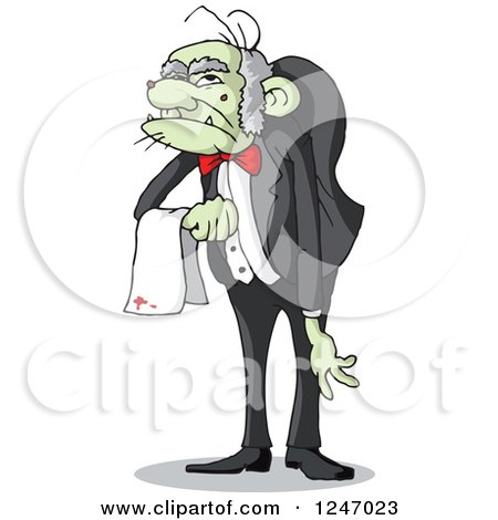 Clipart of a Spookie Hunchback Zombie Butler Man - Royalty Free Vector Illustration by Holger Bogen