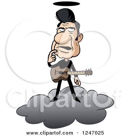 Clipart of a Male Musician in Black, Standing on a Cloud and Thinking - Royalty Free Vector Illustration by Holger Bogen