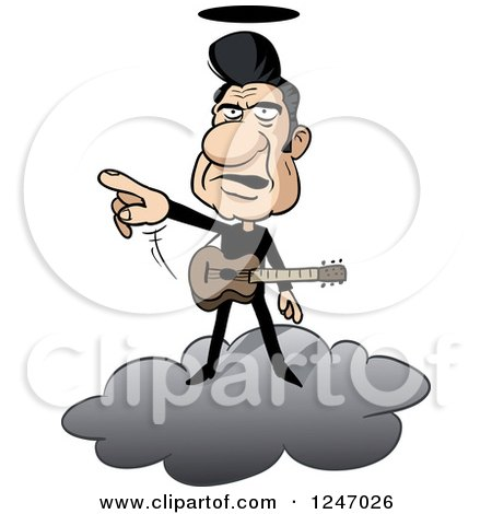 Clipart of a Male Musician in Black, Standing on a Cloud and Pointing - Royalty Free Vector Illustration by Holger Bogen