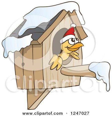 Clipart of a Yellow Bird Wearing a Christmas Santa Hat and Peeking out of a Bird House - Royalty Free Vector Illustration by Holger Bogen