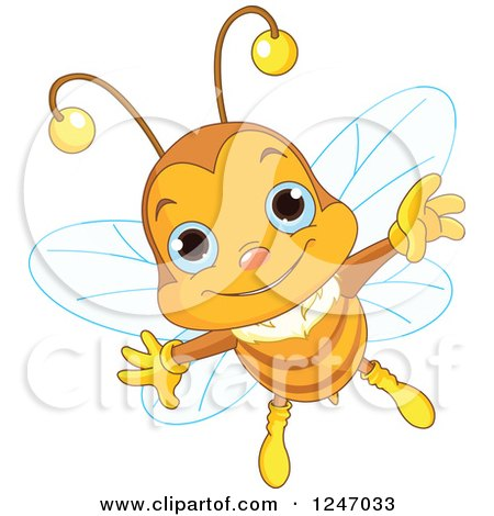 Clipart of a Cute Blue Eyed Bee Flying - Royalty Free Vector Illustration by Pushkin