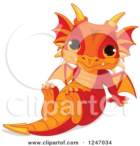 Clipart of a Cute Red and Orange Baby Dragon Sitting Back - Royalty Free Vector Illustration by Pushkin