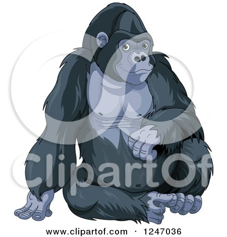 Clipart of a Cute Gorilla Sitting Upright - Royalty Free Vector Illustration by Pushkin