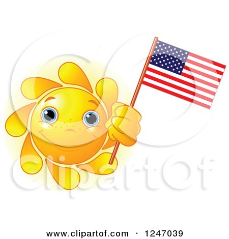 Clipart of a Cute Blue Eyed Sun Holding an American Flag - Royalty Free Vector Illustration by Pushkin