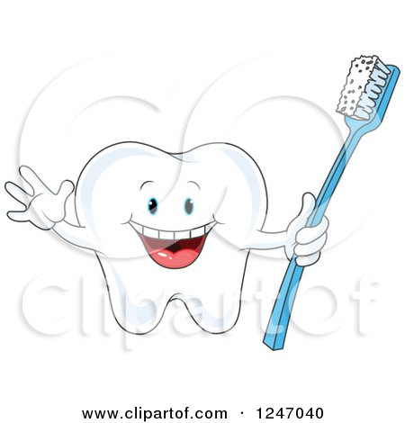 Clipart of a Cheering Tooth Character Holding a Brush - Royalty Free Vector Illustration by Pushkin
