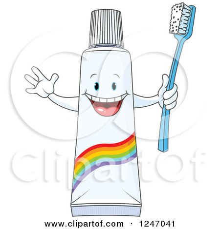 Clipart of a Cheering Toothpaste Tube Character Holding a Brush - Royalty Free Vector Illustration by Pushkin