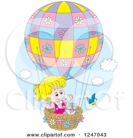 Clipart of a Bird by a Cat and Blond Girl in a Hot Air Balloon - Royalty Free Vector Illustration by Alex Bannykh