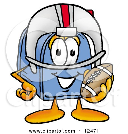 Clipart Picture of a Blue Postal Mailbox Cartoon Character in a Helmet, Holding a Football by Toons4Biz