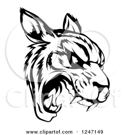 Clipart of a Black and White Roaring Tiger Mascot Head - Royalty Free Vector Illustration by AtStockIllustration